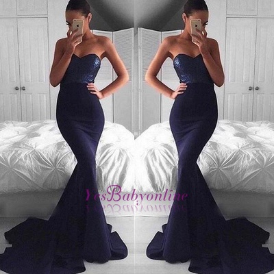 Navy Sequins Mermaid Sweep-Train Sweetheart Glamorous Evening Dress BA5044_1