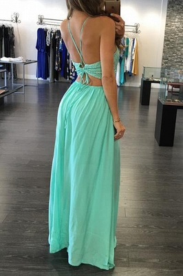 A-Line Empire Spaghetti Strap Evening Dresses Sleeveless Chiffon Floor Length Party Gowns_3