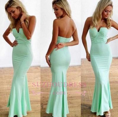 Sexy Zipper Floor-Length Mint Sleeveless Sweetheart Mermaid Prom Dresses_1