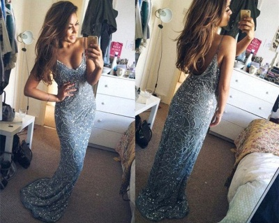 Mermaid Spaghetti Strap Long Prom Dress Sequins Backless  Evening Gowns_3