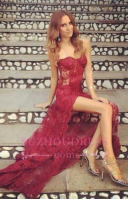 Long Sweetheart Split Stunning Burgundy Full-Lace Prom Dress_3