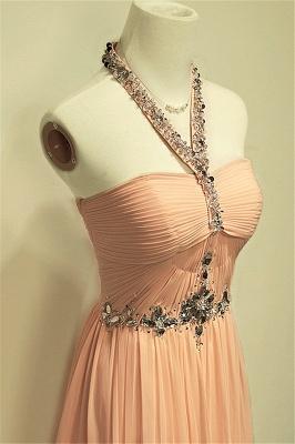 A-line Halter Chiffon Crystal Prom Dress Elegant Sweep Train Zipper Fashional Evening Dresses_3