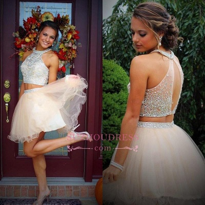 Mini Two-Piece Champagne Halter Crystals Open-Back Discount Organza Short Homecoming Dresses_1