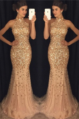Elegant Open Back Crystal Halter Evening Gowns Sweep Train  Mermaid Prom Dress BA6613_5