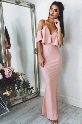 Sexy Pink Evening Dresses   | Floor Length Spaghetti Straps Formal Dresses_1