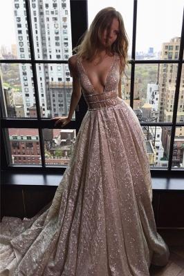 Deep V-neck Sleeveless Sexy Unique Sparkly Fabric Open Back  Evening Dresses_1