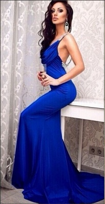 Royal Blue Open Back  Sexy Long Evening Dresses With Crystals Sweep Train Prom Dresses_1