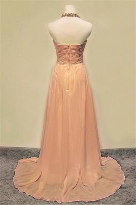 A-line Halter Chiffon Crystal Prom Dress Elegant Sweep Train Zipper Fashional Evening Dresses_2