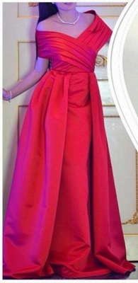Off Shoulder Red Prom Dresses  Stretch Satin Formal Evening Dress Long_1