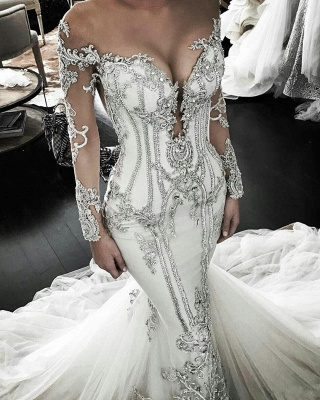 Affordable Off-the-Shoulder Lace Mermaid Wedding Dresses Long-Sleeves Appliques Bridal Gowns Online
