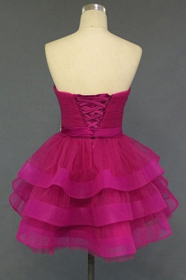 Sweetheart Crystal Fuchsia Mini  Cocktail Dresses Tiered Lace-up Short Homecoming Gowns_3