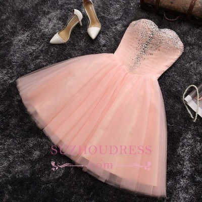 Elegant Crystals Sweetheart-Neck Pink A-line Short Homecoming Dresses BA6909_3