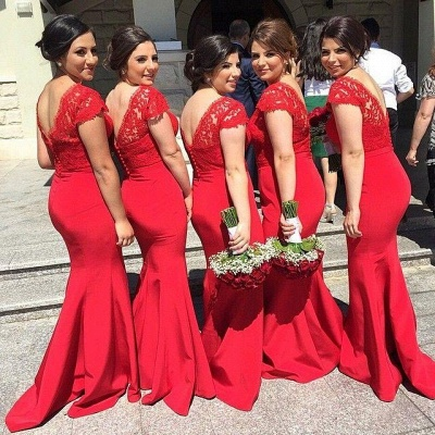Red V-Neck Sexy Mermaid Long Bridesmaid Dresses  Lace Plus Size Wedding Dress for Women_2