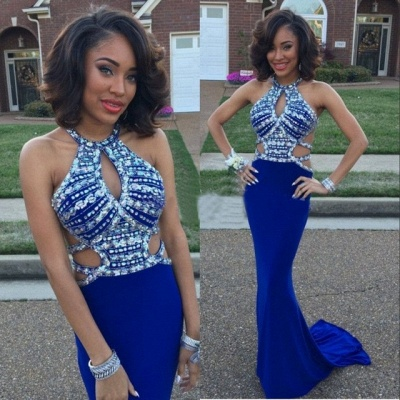 Sexy Sheath Prom Dresses  | Royal Blue Crystal Sleeeveless Evening Gowns_3