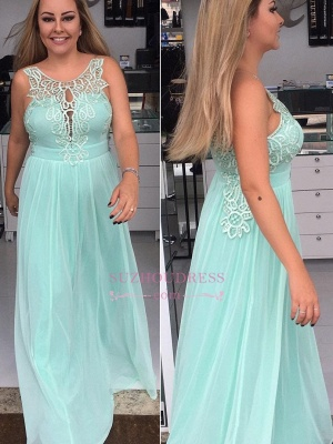 A-line  Prom Dresses | Applique Chiffon Sleeveless Evening Dresses_3