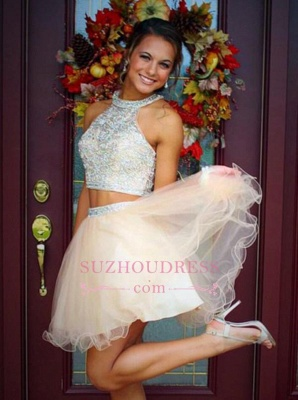 Mini Two-Piece Champagne Halter Crystals Open-Back Discount Organza Short Homecoming Dresses_2