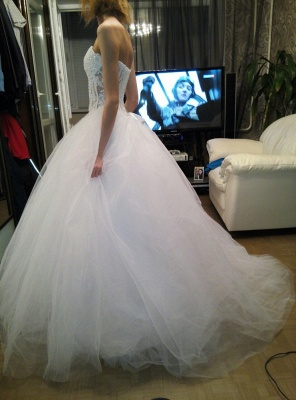 White A-Line Sweetheart Tulle Bridal Gown with Beadings Lace-Up Crystal Plus Size Wedding Dress_2