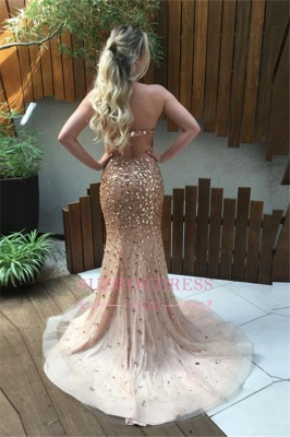 Elegant Open Back Crystal Halter Evening Gowns Sweep Train  Mermaid Prom Dress BA6613_4