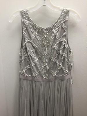 Grey Prom Dresses Beaded Long Evening Dress_1