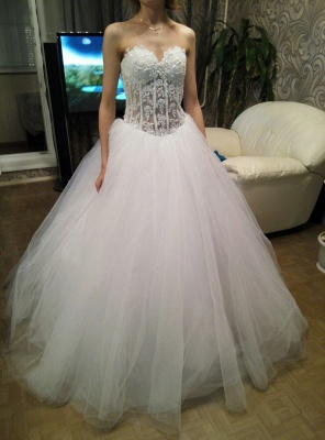 White A-Line Sweetheart Tulle Bridal Gown with Beadings Lace-Up Crystal Plus Size Wedding Dress_1