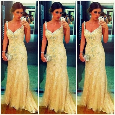Lace Prom Dresses Spaghetti Straps Appliques Beading Sweep Train A Line Sleeveless Evening Gowns BA3498_2