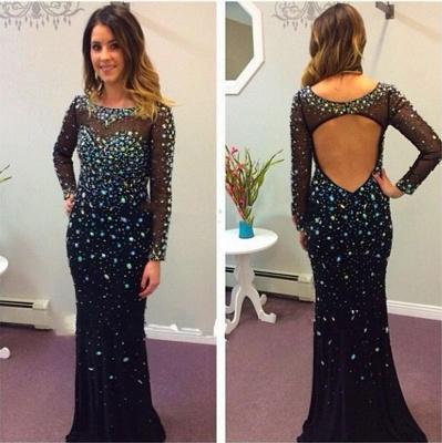 Long Sleeve Black Prom Dress  Open Back Crystals Sequins Sheath Evening Dresses_3
