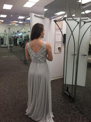 Grey Prom Dresses Beaded Long Evening Dress_4