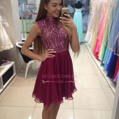 Cute Mini Sleeveless Crystal High Neck Beading Homecoming Dresses_1