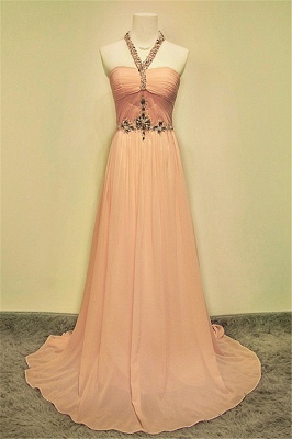 A-line Halter Chiffon Crystal Prom Dress Elegant Sweep Train Zipper Fashional Evening Dresses_1