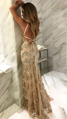 Sexy V-Neck Mermaid Prom Dresses  Sequined Backless Evening Gowns SK0022_4