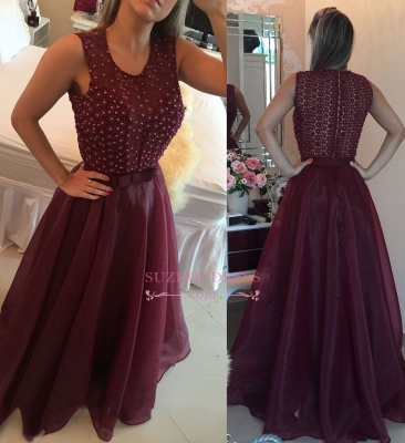Burgundy Organza Pearls A-Line Prom Dresses |  Modern Sleeveless Evening Dresses with Beadings_3