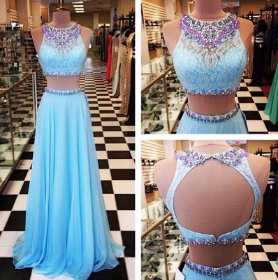 Crystal Light Blue Halter Two Pieces Prom Dress New Arrival Open Back Chiffon Long Evening Gowns_2
