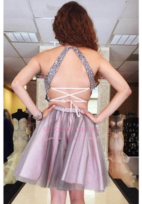 New Arrival Sexy Halter Two Tulle A-Line Pieces Lace Homecoming Dresses_3