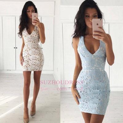 Mini Sleeveless Lace Straps Modest Bodycon Homecoming Dress_3