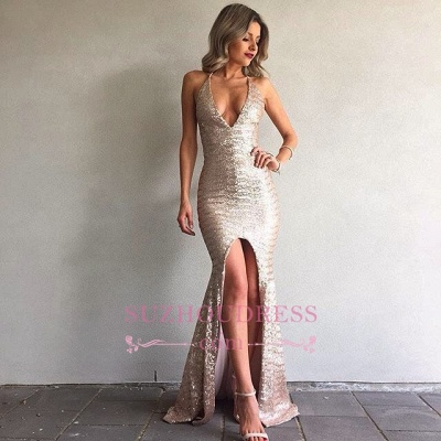 Mermaid Backless Sexy Formal Ball Dresses  V-Neck Front Split Sequined Evening Gown_1