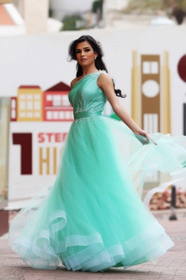 One Shoulder Crystal Green Organza Prom Dress A-Line Custom Made Floor Length Evening Dress_1