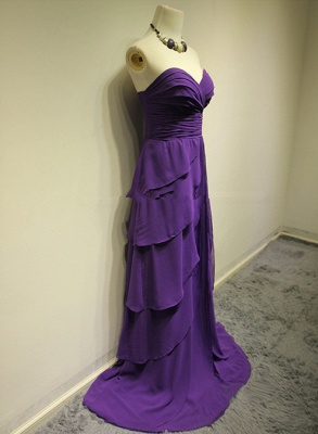 Sweetheart Purple Tieded  Evening Dresses Zipper Sleeveless Glorious Bridesmaid Dresses_3
