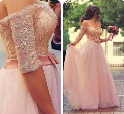 A-Line Cute Pink Half Sleeve Evening Dress Off Shoulder Lace Sweep Train Bridal Gown_3