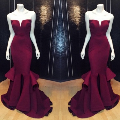 Popular Burgundy Mermaid Long Evening Dress Sexy Simple  Notched Slit Prom Gown CJ0397_2