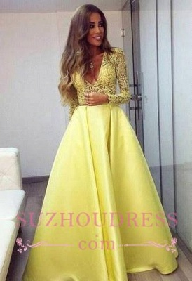 Yellow Lace V-neck Long Satin Evening Gown Sleeves Gorgeous Prom Dresses_3