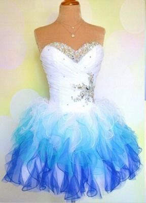 Sweetheart Organza Crystal Mini Homecoming Dresses Cute Multi-Coloured Short Party Dress with Beadings_1