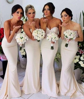 Ivory Bridesmaid Dresses Sweetheart Sequins Sexy  Bridesmaid Dresses Online_2