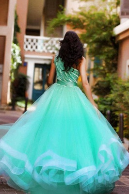 One Shoulder Crystal Green Organza Prom Dress A-Line Custom Made Floor Length Evening Dress_2