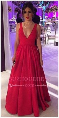 Open-Back V-neck  Sleeveless Elegant New Long Red Evening Dresses BA4857_3