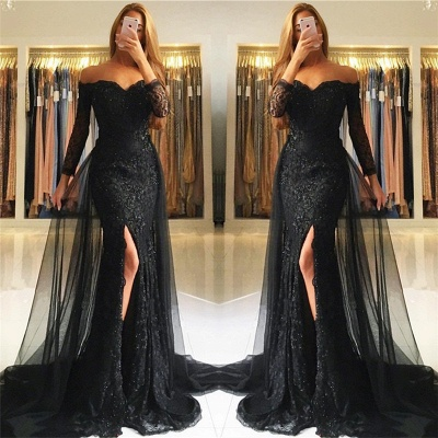 Sweetheart Lace Appliques Evening Gowns  Newest Front Split Long Sleeve Mermaid Prom Dress -BA6240_4
