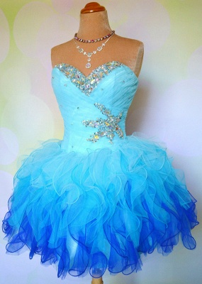 Sweetheart Organza Crystal Mini Homecoming Dresses Cute Multi-Coloured Short Party Dress with Beadings_2