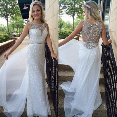 Latest Crystal Sheath  Prom Dress with Beadings Sequined Floor Length Evening Gown_3