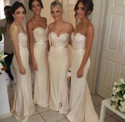 Ivory Bridesmaid Dresses Sweetheart Sequins Sexy  Bridesmaid Dresses Online_3