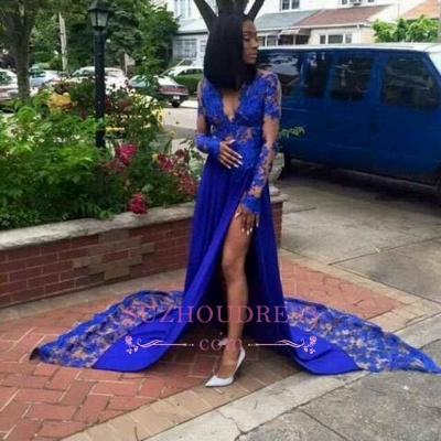 Side Slit Deep V-Neck Evening Dress  Long Sleeves Lace Sexy  Royal Blue Prom Dresses LY181_1