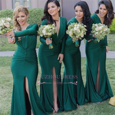 Long-Sleeves Sexy Mermaid Green V-Neck Front-Split Bridesmaid Dresses_1